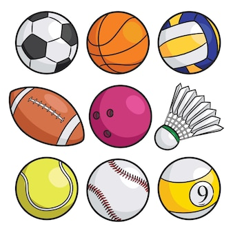 Conjunto de desenhos animados de bolas esportivas