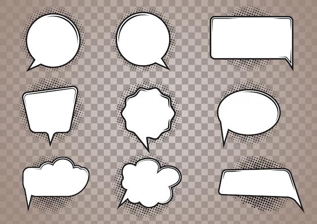 Conjunto de desenhos animados de bolha do discurso