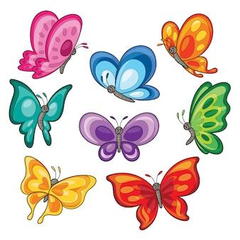 Conjunto de desenhos animados de borboletas coloridas