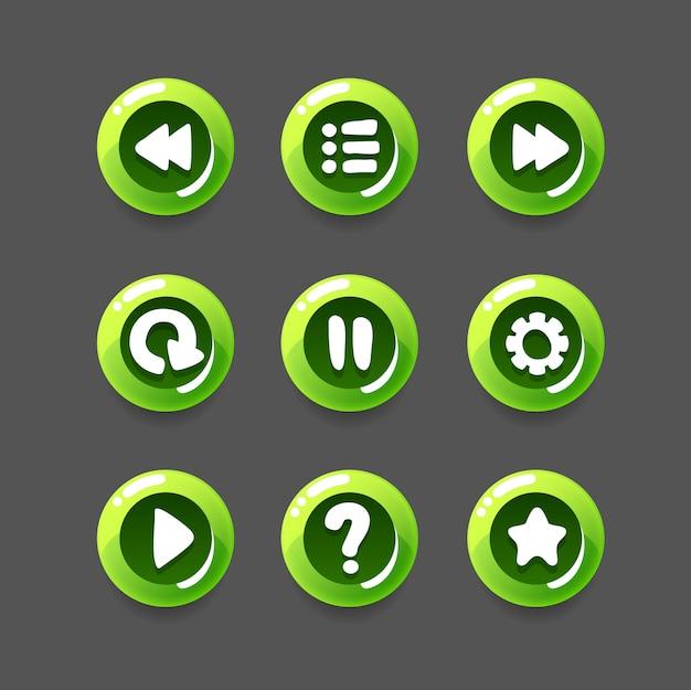 Conjunto de desenhos animados de botão de jogo
