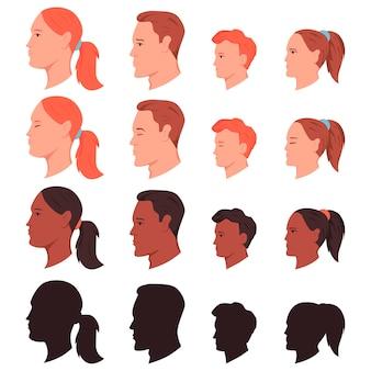 Conjunto de desenhos animados de cabeças humanas de perfil lateral isolado em um fundo branco.