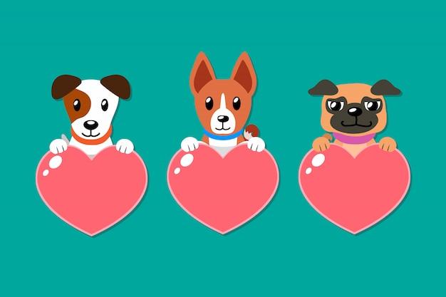 Conjunto de desenhos animados de cães com sinais de coração