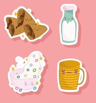 Conjunto de desenhos animados de café da manhã