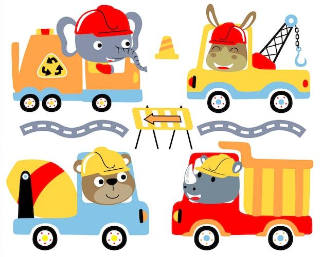 Conjunto de desenhos animados de caminhões com motoristas engraçados