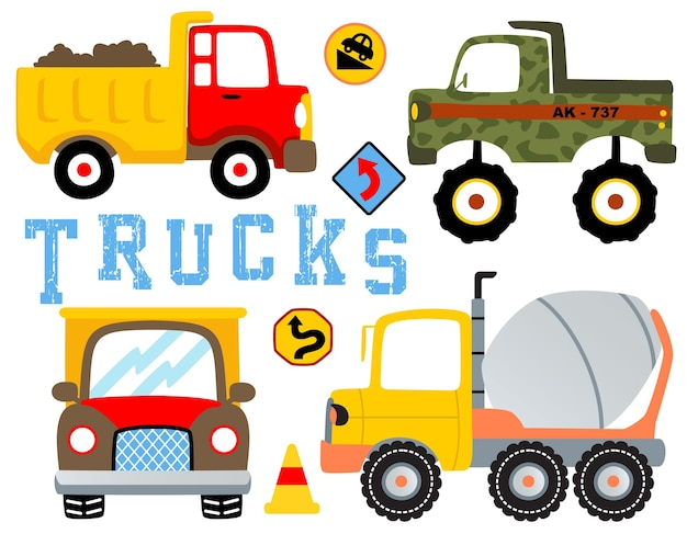 Conjunto de desenhos animados de caminhões