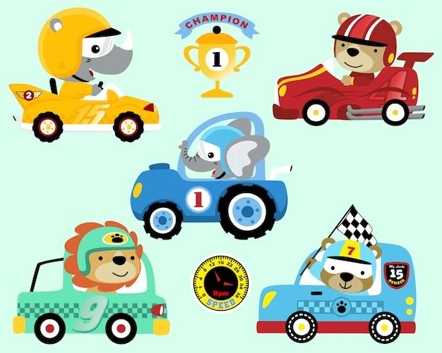 Conjunto de desenhos animados de carro de corrida