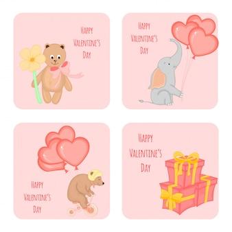 Conjunto de desenhos animados de cartões com animais para o dia dos namorados