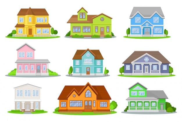 Conjunto de desenhos animados de casas coloridas.