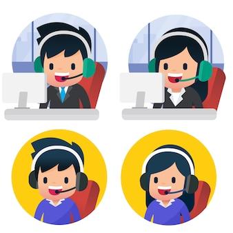 Conjunto de desenhos animados de centro de chamada