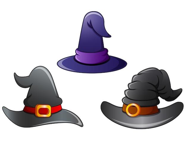 Conjunto de desenhos animados de chapéu de bruxa