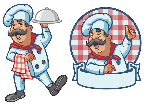 Conjunto de desenhos animados de chef feliz
