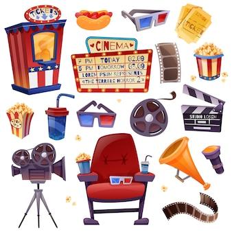 Conjunto de desenhos animados de cinema