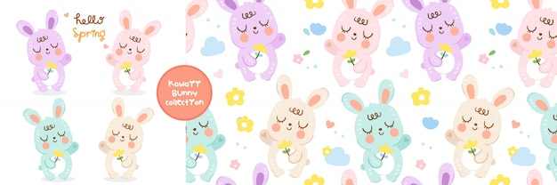 Conjunto de desenhos animados de coelhos e coleção padrão sem emenda
