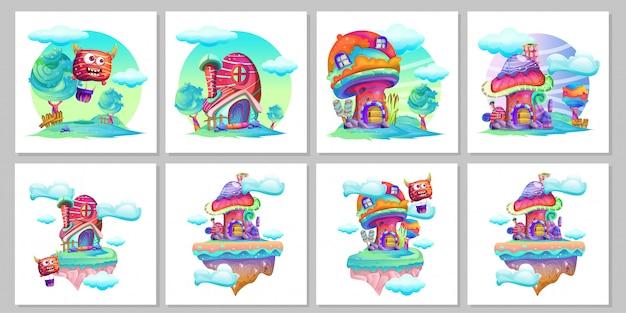 Conjunto de desenhos animados de cogumelo