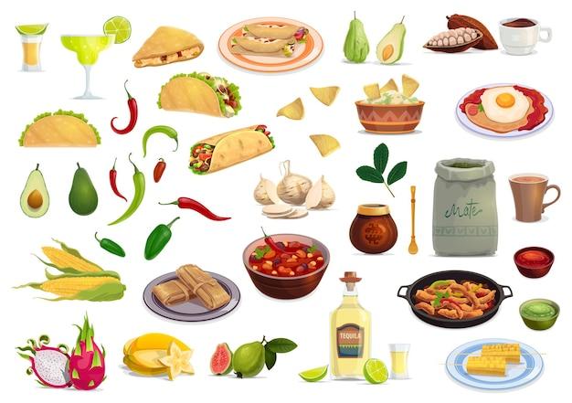 Conjunto de desenhos animados de comida e bebida de cozinha mexicana