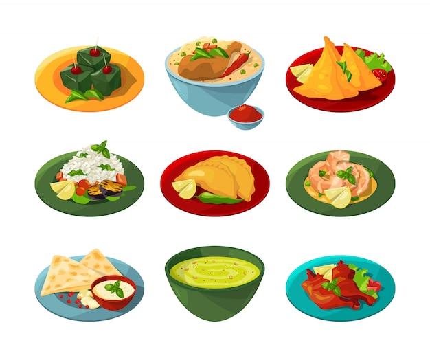 Conjunto de desenhos animados de comida indiana tradicional em diferentes pratos