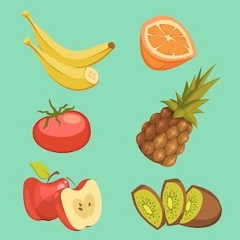 Conjunto de desenhos animados de comida saudável com abacaxi e maçã