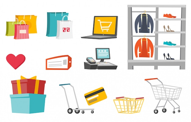 Conjunto de desenhos animados de compras