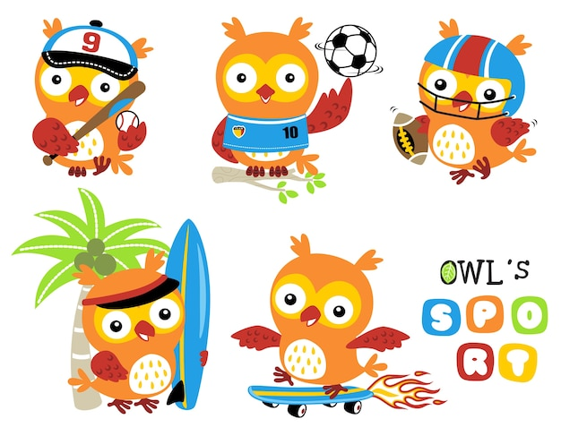 Conjunto de desenhos animados de coruja em vários tipos de esporte