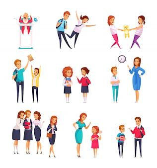 Conjunto de desenhos animados de crianças bullying