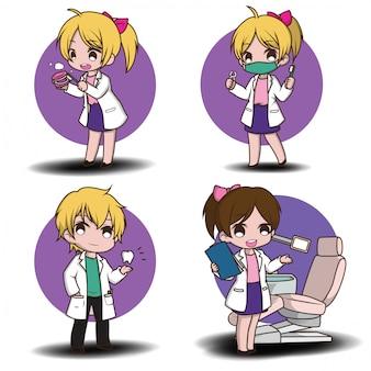 Conjunto de desenhos animados de dentista bonito segurando as ferramentas do dentista