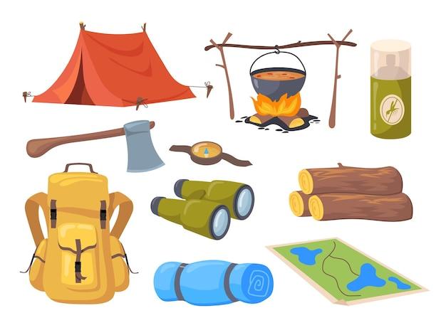 Conjunto de desenhos animados de diferentes símbolos de turismo. ilustração plana.