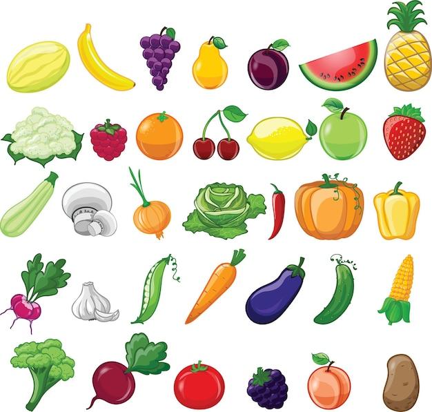 Conjunto de desenhos animados de diferentes vegetais e frutas no estilo cartoon