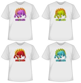 Conjunto de desenhos animados de dinossauros em cores diferentes em camisetas