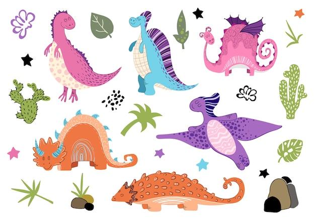 Conjunto de desenhos animados de dinossauros em estilo escandinavo