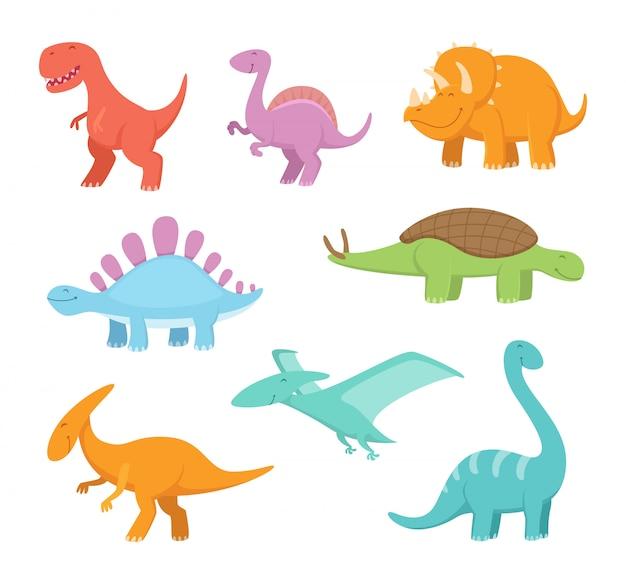 Conjunto de desenhos animados de dinossauros engraçados. imagens de vetor do período pré-histórico