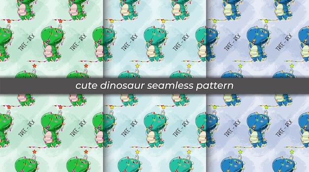 Conjunto de desenhos animados de dinossauros transformados em um padrão sem emenda de árvore de natal
