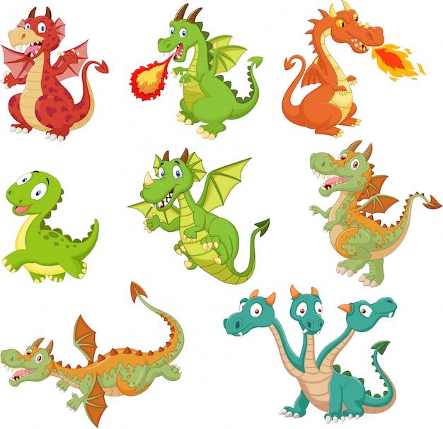 Conjunto de desenhos animados de dragões em fundo branco