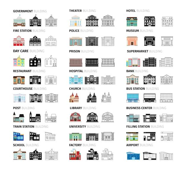Conjunto de desenhos animados de edifícios