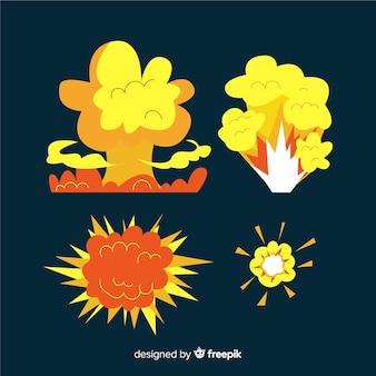 Conjunto de desenhos animados de efeitos de explosão de bomba