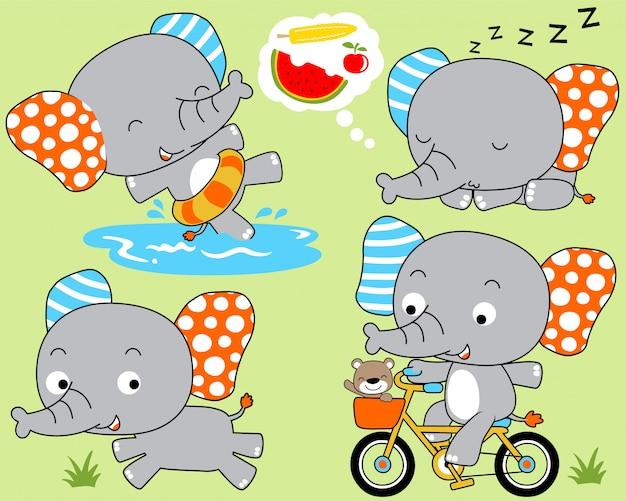 Conjunto de desenhos animados de elefante