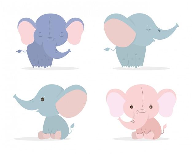 Conjunto de desenhos animados de elefantes fofos