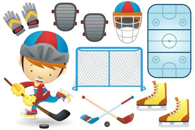 Conjunto de desenhos animados de elementos de beisebol