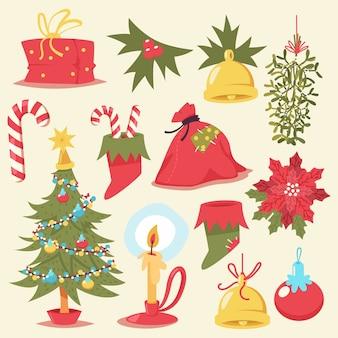 Conjunto de desenhos animados de elementos de natal isolado no fundo branco.