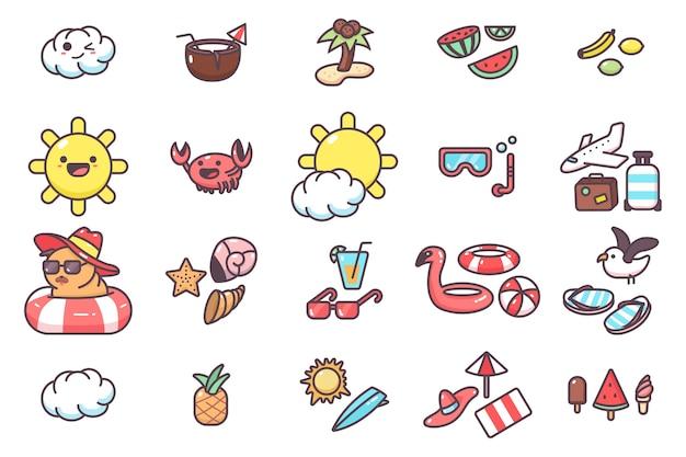 Conjunto de desenhos animados de elementos fofos de verão isolado em um fundo branco