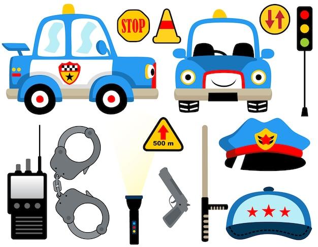 Conjunto de desenhos animados de equipamentos de patrulha de polícia