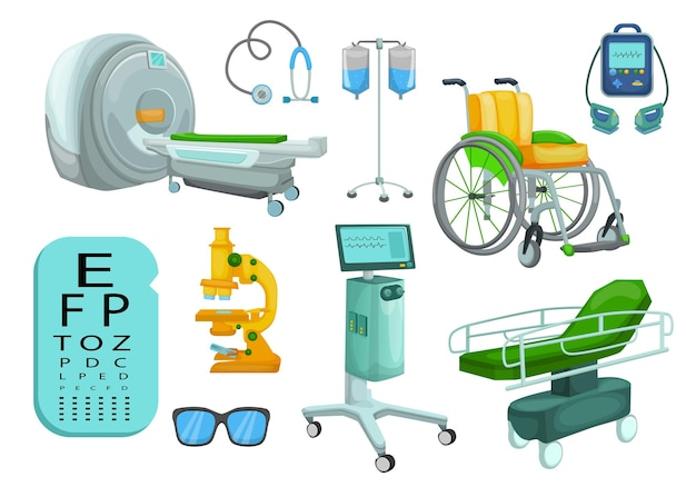 Conjunto de desenhos animados de equipamentos e dispositivos médicos hospitalares