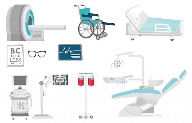 Conjunto de desenhos animados de equipamentos médicos