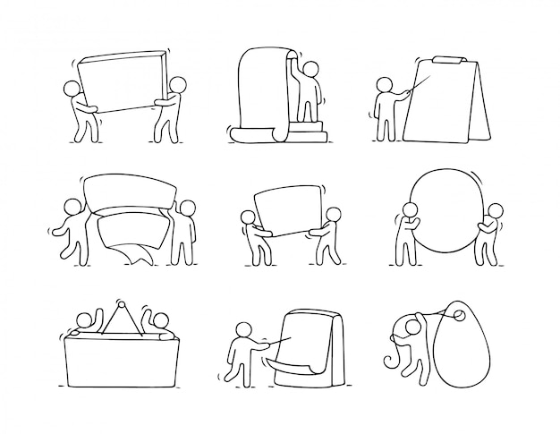 Conjunto de desenhos animados de esboçar pequenas pessoas com espaços em branco.