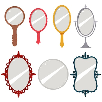 Conjunto de desenhos animados de espelho isolado em um fundo branco.