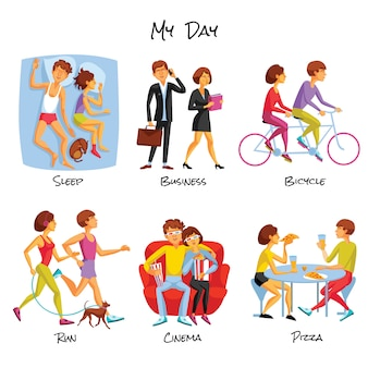 Conjunto de desenhos animados de estilo de vida