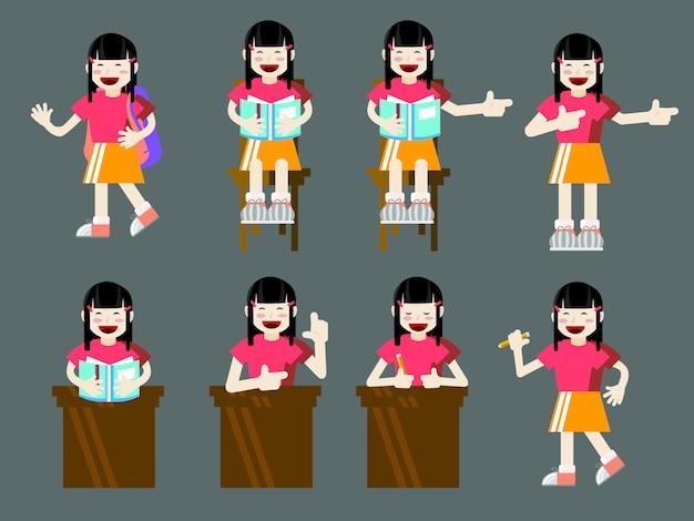 Conjunto de desenhos animados de estilo plano de jovem estudante de rapariga asiáticos com livros e sacos