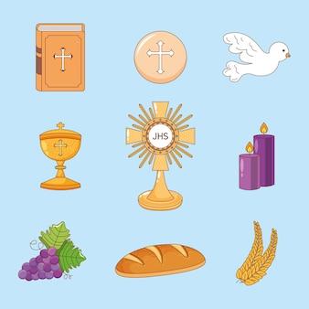 Conjunto de desenhos animados de eucaristia. ilustração dos desenhos animados do corpus christi