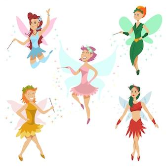 Conjunto de desenhos animados de fadas fofinho.