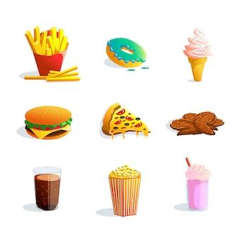 Conjunto de desenhos animados de fastfood