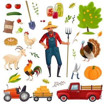 Conjunto de desenhos animados de fazenda grande